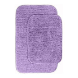 "Garland Rug - Bath Mat: Glamor Purple 21"" x 34"" Bathroom 2 Piece Rug Set - Shop for Flooring at The Home Depot. Beautify your bathroom and make your feet happy with Glamor Bath Rugs. These rugs will compliment any bathroom decor. The distinctive pinstripe pattern gives a modern, but yet traditional sleek design. Glamor is made with 100% Nylon for superior softness and colorfastness. Proudly made in the USA."