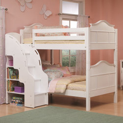 None - Bolton Emma Bunk Bed with Bookcase Stairs - The Bolton Emmaline collection bunk bed features a French-inspired design. Designed with your princess in mind,this bunk bed highlights hand-carved legs,curved tops and beautiful moldings.