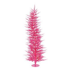 "Vickerman - Pink Laser Tree 100PK 889T (5' x 24"") - 5' x 24"" Pink Laser Tree 100 Pink Mini Lights 889 PVC tips, with metal base."