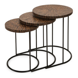 iMax - Hoki Coco Shell Tables, Set of 3 - This set of three unique nesting tables feature a tribal influenced pattern made from natural coconut shells and adds a natural appeal to any area. IMAX exclusives.