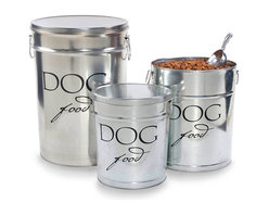 Classic Dog Food Container - Silver - Script lettering and a clean cylindrical shape help neaten your pet's dining area in style.  Indispensible for saving space and for keeping food fresh for longer periods, the Classic Dog Food Container blends easily with transitional d�cor, while its light finish keeps it looking bright and clean, and its artful stenciled labeling suggests a well-organized home.