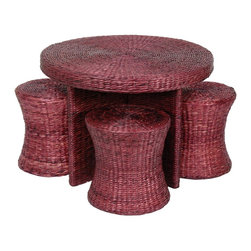 Oriental Furniture - Rush Grass Coffee Table with Four Stools - Mahogany - Natural fiber round table and stool set, includes one table and four stools as shown. Lightweight and strong, crafted in classic rattan style.
