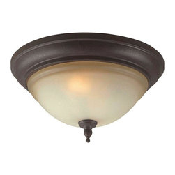 World Imports - Olympus Tradition 2-Light Flush Mount, Crackled Bronze with Silver - Crackled bronze with silver finish