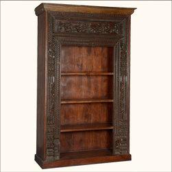 Elegant French Gothic Reclaimed Wood 4-Shelf Display Bookcase -