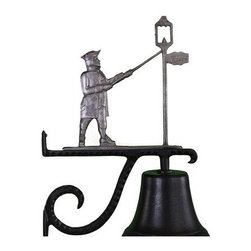 Cast Bell with Swedish Iron Lamplighter Ornament - A distinctive iron finish on the lamplighter and his lamp make the Cast Bell with Swedish Iron Lamplighter Ornament a classic and charming way to welcome guests to your home. This bell is well-made of durable aluminum, is finished in weather-resistant enamel, and comes complete with its decorative mounting bracket.