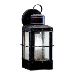 """KICHLER - KICHLER 9478OB Concord Transitional Outdoor Wall Sconce - The Concord Collection brings a fresh perspective to your home's outdoor lighting with this maritime-inspired look. From our Olde Brick finish to the seedy glass, each piece is formed by our skilled artisans to emulate the look of aged, nautical lanterns in lasting detail. This one light, 14"""" high Concord Wall Lantern is an easy way to add a beautiful accentuating touch to your home. It uses a 100-watt (max.) bulb and is U.L. listed for wet locations."""