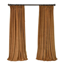 Exclusive Fabrics & Furnishings, LLC - Signature Amber Gold Doublewide Blackout Velvet Curtain - 100% Poly Velvet. 3 Pole Pocket. Plush Blackout Lining . Imported. Dry Clean Only.
