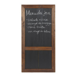 "Bambeco Reclaimed Wood Cafe Chalkboard - Add a bit of classic charm. Our Reclaimed Wood Cafe Chalkboard is perfect for shopping and to-do lists or posting the menu du jour. Each piece is handcrafted from wood reclaimed from 19th century European buildings. Designed to be hung on the wall, you'll love the unique vintage charm of this stunning piece.  Dimensions: 24""W x 49""H"