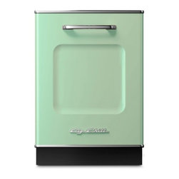 """Big Chill - Big Chill Dishwasher 24 in. wide - Jadite Green - The Big Chill Jadite Green Dishwasher is the perfect addition to your kitchen dcor. 1950s style meets modern functionality with the 24"""" x 35"""" dishwasher that is scratch and fade resistant, trimmed in durable chrome, and built to last. With the green Big Chill dishwasher you get the retro look you love, and the modern dishwashing power you need."""
