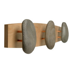 None - Triple Ash Natural Stone Hooks - Add a natural touch to your bathroom with these spa-inspired towel hooks. These beautiful, natural stone hooks feature real rocks from New England, bringing a small piece of nature into your home. The hooks are ideal for hanging towels or robes.