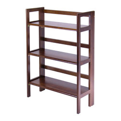 Winsome - 3-Tier Folding and Stackable Shelf - Walnut - This folding shelf comes in three different finishes to match any space. Double stack this shelf to create a wall unit. Use it in the bathroom for your towels, in the kids room for their stuff toys or in an office for books or files. Made of Solid beechwood.