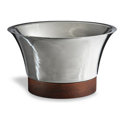 """Frontgate - Collins Beverage Tub - 21"""" dia. - All pieces made of 18/8 stainless steel and teak wood. The 17"""" and 21"""" tubs will chill multiple bottles, and the Ice Bucket's matching lid keeps ice from melting. Double-walled construction in Beverage Tubs and Ice Bucket allows a layer of air to function as the insulator and eliminates condensation, keeping tables dry. Ideal for parties as well as everyday use. The Serving Tray is generously sized for serving anything from martinis to hors d'oeuvres. With the Collins Barware Collection, you can protect your table while making a stunning presentation. Each gleaming stainless steel piece boasts handsome teak accents, and the double-walled construction of the Beverage Tubs and Ice Bucket maximizes cold retention while eliminating condensation. . . . . . Beverage Tubs leave ample room for ice and drinks and handsomely present your favorite bottles. Collins Barware Collection makes an elegant statement on any bar, table or buffet, displaying anything from fruit to a fine bottle of champagne. Teak handles on the Serving Tray facilitate lifting and carrying. Wood bases on the Beverage Tub and Ice Bucket are removable for cleaning. Perfect for indoor or outdoor use. Wipe clean with a soft cloth."""