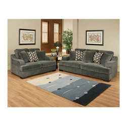 "Benchley - 2-Piece Rocky Charcoal Fabric Upholstered Sofa and Love Seat Set - 2-Piece Rocky charcoal fabric upholstered sofa and love seat set with rounded square set back arms . Sofa measures 94"" x 46"" x 39"" h. Love seat measures 69"" x 46"" x 39"" h. Chair and ottoman also available separately. This set comes as shown or available in chocolate and froth color also."