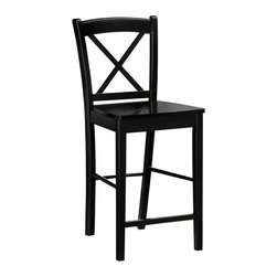 Linon - Linon X Back Bar Stool in Black - Linon - Bar Stools - 01710BLK01KDU - The elegance and unique style of this Black X Back Stool will carry throughout your kitchen, dining, or home pub area. Finished in rich Espresso. The clean lines and solid construction ensure that this stool is durable enough for a busy kitchen, yet elegant enough for a more formal setting.