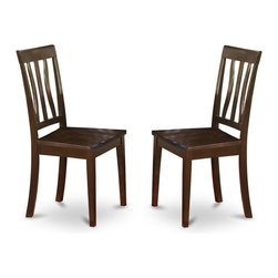 East West Furniture - Dining Chair in Cappuccino Finish - Set of 2 - Set of 2. Solid wood frame with slatted back. Made from 100% Asian solid wood and micro fiber. Made in Vietnam. Assembly required. Seat height: 18 in. H. Overall: 18 in. W x 17 in. D x 38.5 in. H (37 lbs.)