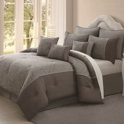 None - Jade Blossom 9-piece Cotton Comforter Set - With a graceful floral design in jade and taupe,this jade blossom 100-percent cotton comforter set is a beautiful addition to any bedroom.