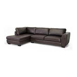 Baxton Studio - Baxton Studio Orland Brown Leather Modern Sectional Sofa Set with Left Facing Ch - Spacious. Sleek. Urban.  The sizable Orland Sectional Sofa's classy and contemporary with a youthful vibe.  Each of the two pieces included with this set is made with a wooden frame, firm foam cushioning, and soft brown bonded leather.  The backrest cushions are removable and secure to the frame with Velcro strips.  The sofa and chaise are freestanding pieces that do not adhere to one another.  Black plastic legs with non-marking feet finish off the look.  The Orland Living Room Sectional is made in Malaysia and should be wiped clean with a solvent of mild detergent and water. This style is also offered with the chaise on the opposite side as well as both configurations in white bonded leather (each sold separately).  Minor assembly is required.Overall dimensions: 116.5 inches wide x 79 inches deep x 32.5 inches highSofa dimensions: 79 inches wide x 34 inches deep x 33 inches highseat'sions: 69 inches wide x 21 inches deep x 17.5 inches highChaise dimensions: 37 inches wide x 68.5 inches deep x 33 inches highseat'sions: 25 inches wide x 56 inches deep x 17.5 inches highArm height: 26 inches