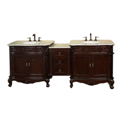 "Bellaterra - 82.7 In. Double Sink Vanity - Walnut - White Marble - Give your bathroom an upscale appearance with this handcrafted bathroom vanity, featuring smooth, rich finishes and a lustrous construction of wood. This bathroom cabinet will enhance your traditional bath decor with antique-style and classical appeal. Features intricate acanthus leaf details and scrolled feet. A beautiful 3/4""thick hand-polished marble top completes the look. Vanity dimension: 84.9Wx23.6Dx36H * Birch* Medium walnut* carrara white Marble* White Ceramic Sink* Antique brass finish hardware* Pre-drilled with 3 holes- 8 in. center faucet, Faucet and mirror not included* Slight Assembly Required. Dimensions: 82.7 in. x 23.6 in."
