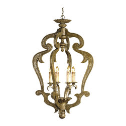 Kathy Kuo Home - St. Varent Grand Wooden Scroll 4 Light Pendant Lantern - With a nod to art nouveau carved wood chandeliers, this large piece creates a symphony of carved leaf scrollwork in which to frame four lights.  For French inspired spaces in need of large scale traditional lighting, look no further.