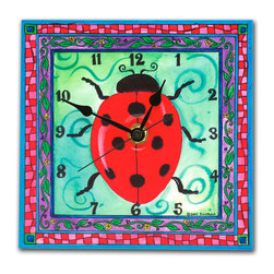 Ladybug Wall Clock - Our Ladybug clock is handmade in our studio. It's a print of an original watercolor which has been dry mounted onto black foam board and heat-sealed with a protective laminate, so it looks like ceramic but is feather-light. Each clock has a hanger on the back and comes in a gift box. The quartz movement runs on a single AA battery. Made in the USA. (Be sure to look for our ladybug alarm clock, night light and magnets, too!)