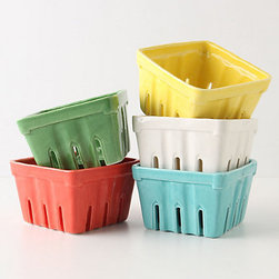 Farmer's Market Basket, Small Square - How apropos to serve a bushel of fresh berries in this adorable ceramic farmer's market basket. Modeled to look like the traditional cardboard blueberry pints, there's finally a way to sustain that farm fresh produce look over time.