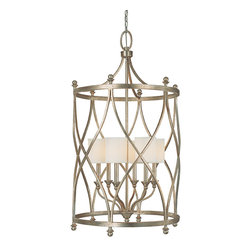 "Capital Lighting - Fifth Avenue Foyer Fixture - 6-Light - Fifth Avenue 3 or 6-Light Foyer Fixture.  Winter Gold finish with Box-Pleated Fabric Stay-Straight shades.  Takes three or six 60W bulbs.  UL Listed.  Rated for Dry Environments.  Chain Length: 10'  Wire Length: 15'  3-Light Pendant: 16 1/2"" w x 16 1/2"" d x 34"" h  6-Light Pendant: 26 1/4"" w x 26 1/4"" d x 47"" h"
