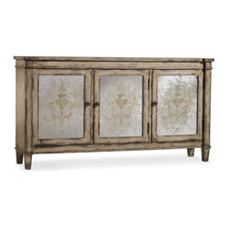 Hooker Furniture - Three Door Mirrored Chest - White glove, in-home delivery included!  This opulent chest features one adjustable shelf behind all doors.