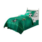 Pem America - Soccer Full / Queen Quilt with 2 Shams - The beautiful game on a background of bright greens for boys or girls.  All the actions and all the beauty of soccer in this 100% cotton faced quilt with embroidered highlights.  The quilt pattern is a large soccer pitch in greens with embroidered and appliqued players. Quilt set includes 1 full / queen quilt, 86x86 inches and 2 standard pillow shams, 20 x 26 inches. 100% cotton face cloth, filled with 100% hypoallergenic polyester. Machine Washable.