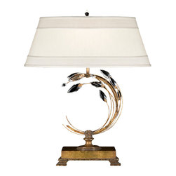 Fine Art Lamps - Fine Art Lamps 778010ST Crystal Laurel Gold Leaf Table Lamp - 1 Bulb, Bulb Type: 50/100/150 Watt Medium; Weight: 17lbs