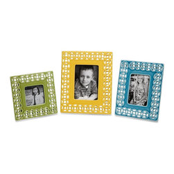 Blue Ceramic Photo Frames - Set of 3 - *This set of three frames embellish any photo with the hand cut ceramic work featuring seamless pattern of graphic links.