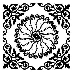 Odhams Press - Hampton Black RETile Decal, Clear Background - RETile decals can be used to accent or transform your existing ceramic, stone or glass tiles. They are easy to apply and can be removed in the future without leaving a sticky residue.