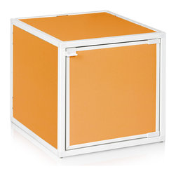 Way Basics - Box Storage Cube, Orange - Want to add some flexibility into your life? These stackable, connectable storage cubes will help organize your space in almost any configuration you can dream up. Easy, tool-free assembly allows you to try out different arrangements and then change your mind at a whim. Made from recycled paper, the cubes are non-toxic and lightweight, yet super strong. Doors and wheels are available separately.