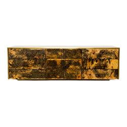 Custom Furniture - Custom buckeye burl wood side board/media piece clad in bronze sheeting