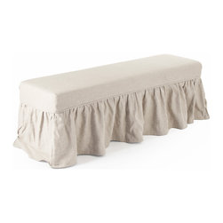 Kathy Kuo Home - Delors French Country Linen Slipcover Skirt Bench - Long and luxurious, this bench offers the best of both worlds with sleek grey upholstery underneath a cream-colored, skirted removable slipcover. The polished, rectangular black wood frame contrasts with both fabrics, creating a versatile palette for an entryway, hallway or sitting room.