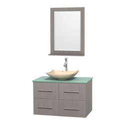 Wyndham Collection - 36 in. Single Bathroom Vanity in Gray Oak, Green Glass Countertop, Arista Ivory - Simplicity and elegance combine in the perfect lines of the Centra vanity by the Wyndham Collection . If cutting-edge contemporary design is your style then the Centra vanity is for you - modern, chic and built to last a lifetime. Available with green glass, pure white man-made stone, ivory marble or white carrera marble counters, with stunning vessel or undermount sink(s) and matching mirror(s). Featuring soft close door hinges, drawer glides, and meticulously finished with brushed chrome hardware. The attention to detail on this beautiful vanity is second to none.