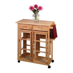 Winsome Trading, INC. - Winsome Wood 89330 Space Saver Drop Leaf Table Kitchen Cart - On wheels for easy transport, this bar conveniently comes with two stools that can be stored on the cart. There is a square drop leaf table that accommodates two people. Use it in the kitchen or out on the patio for an effortless outdoor meal.