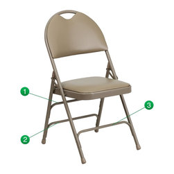 Flash Furniture - Flash Furniture Folding Chairs Large Metal Folding Chairs X-GG-EGB-3-VA507CM-AH - This Triple Braced Plush Comfort HERCULES Folding Chair provides superior support and comfort. This portable folding chair can be used for Parties, Graduations, Sporting Events, School Functions and in the Classroom. This chair will be the perfect addition in the home when in need of extra seating to accommodate guests. When no longer needed, simply fold away as a compact storage solution. This economically priced chair will endure some heavy usage with an 18-gauge steel frame, triple braced and leg strengthening support bars. [HA-MC705AV-3-BGE-GG]