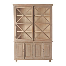 Kathy Kuo Home - French Country Plantation 2 Door Hutch Cabinet- Large - This French Country hutch brings rustic elegance to a dining room or kitchen while allowing you to show off and store your best china and silver in style. The cupboard interior is finished in a lighter shade to provide a beautiful contrast, and the wood carved detailing make this piece an instant classic.