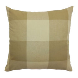 "The Pillow Collection - Kalen Plaid Pillow Oatmeal 18"" x 18"" - This throw pillow features a classic plaid print pattern with a contemporary twist. This decor pillow comes with warm colors in oatmeal: brown, creme and sand. The accent pillow is made from high-quality 100% soft cotton fabric. Decorate this square pillow on your furnishings to liven up your home. Play with different elements by mixing this with patterns, solid colors and rich fabrics. Hidden zipper closure for easy cover removal.  Knife edge finish on all four sides.  Reversible pillow with the same fabric on the back side.  Spot cleaning suggested."