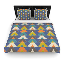 "Kess InHouse - Julia Grifol ""Colorful Triangles"" Blue Multicolor Cotton Duvet Cover (Twin, 68"" - Rest in comfort among this artistically inclined cotton blend duvet cover. This duvet cover is as light as a feather! You will be sure to be the envy of all of your guests with this aesthetically pleasing duvet. We highly recommend washing this as many times as you like as this material will not fade or lose comfort. Cotton blended, this duvet cover is not only beautiful and artistic but can be used year round with a duvet insert! Add our cotton shams to make your bed complete and looking stylish and artistic!"
