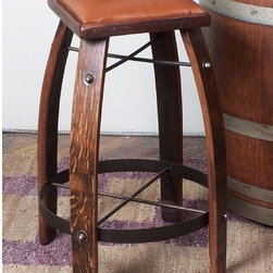 """2 Day - 28 - 32"""" Leather  Stave Stool - Features: -Leather stave stool. -Available in: -24"""" H size. -28"""" H size. -30"""" H size. -32"""" H size. . -Wine barrel oak, MDF and steel construction. -Made from recently retired oak wine barrel staves. -Durable wrought iron supports. Specifications: -Made in USA. -24"""" Leather stave stool Overall dimensions: 24"""" H x 20"""" W x 20"""" D. -28"""" Leather stave stool Overall dimensions: 28"""" H x 20"""" W x 20"""" D. -30"""" Leather stave stool Overall dimensions: 30"""" H x 20"""" W x 20"""" D. -32"""" Leather stave stool Overall dimensions: 32"""" H x 20"""" W x 20"""" D."""