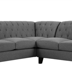 Apt2B - The Jackson 2Pc Sectional, Tweed, Chaise on Left - The Jackson brings some much needed romance into any space. The rolled back with detailed tufting and swoop arms gives really interesting lines to a boxy room and can be that star every home needs. Each piece is expertly handmade to order in the USA and takes around 2-3 weeks in production. Features a solid hardwood frame and upholstered in a stain resistant smooth woven poly blend fabric.