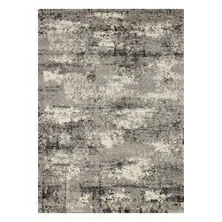 """Loloi Rugs - Viera Contemporary Rug VIERVR-04GY00 - 5'-3"""" X 7'-7"""" - Classically expressed design elements enjoy a graphic, modern twist in the Viera Collection. Power-loomed of 100-percent polypropylene, these tasteful contemporary and refined transitional designs reverberate with style. A deliberate high-low pile adds to the worn, vintage look and finish of each rug. Ultra sophisticated black/ivory and mocha/ivory color options add broad appeal to this timely yet timeless collection."""