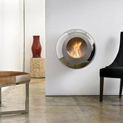 Vellum Stainless Steel Wall Mounted Fireplace by Cocoon Fires - Designed by Federico Otero, the Cocoon Fireplace series present an updated model of the classic modern fireplace.