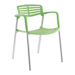 Modway - Fleet Metal Stacking Meeting Chair in Green - Bring versatility to your meetings and events with a sturdy chair that fits all occasions. The Fleet stacking chair is made of stainless steel with a fashionable hard plastic seat and arm covering. The design is sleek and compact while providing the seating room necessary to accommodate your guests comfortably. Fleet stacks for easy storage.