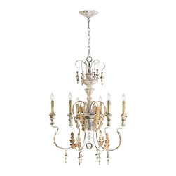 Cyan Design - Cyan Design 04170 Motivo Traditional 6-Light Chandelier - Our Motivo chandelier is inspired by the antique rural reproductions of centuries old aristocratic European design. Featuring imperfectly formed scrolling arms, wood-accented bobeches and finials, and a white distressed finish accented by a rust patina, this endearing creation pays homage to Baroque styling but in the primitive, humble manner in the rural European farmhouse of centuries past.