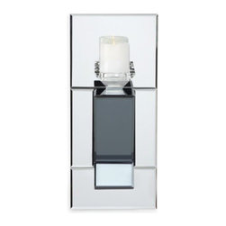 Z Gallerie - Prism Wall Sconce - Designed with modern sensibilities in mine, our Prism Wall Sconce adorns your wall with a sophisticated interplay of candlelight. Covered in its entirety in mirrors, a projected center point offers added depth and visual interest.  Exclusive to Z Gallerie, pair our Prism Wall Sconce with a 3 inch pillar candle of your choosing. Candle not included.