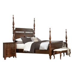 American Drew - American Drew Cherry Grove NG 6-Piece Poster Bedroom Set in Brown - Cherry Grove New Generation line promises the same timeless quality and appeal with a full line of dining room, bedroom, home office, entertainment and occasional furniture. The line incorporates many elegant curves and graceful movement, and is updated with today? finishes, functionality and style. The inviting Mid tone brown finish makes the cherry veneers pop on each piece, along with Custom designed hardware. This line takes advantage of vertical space with higher case heights, and maximizes the utility of small spaces with hinged drop leaves on servers and tables. In combination, the collection takes functionality to a lifestyle level and allows urban or scaled-down living spaces to become entertainment areas, making small rooms work like big rooms. The New Generation of Cherry Grove is about honoring tradition while staying on trend.