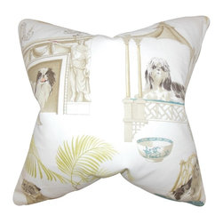 """The Pillow Collection - Zuzela Animal Print Pillow, Ivory 20"""" x 20"""" - Enrich your home with a few pieces of this plush throw pillow."""