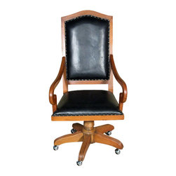 MBW Furniture - Solid Mahogany Upholstered Genuine Leather Executive Office Arm Chair - This product is finely constructed from top grade kiln-dried Solid Mahogany. Artisans use the old world method of tongue and groove and mortise and tenon joinery to create this beautiful and durable piece of furniture. Its superb hand-crafted quality will add a touch of elegance to your home.
